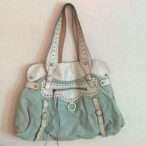 Guess collection light teal and white hobo bag